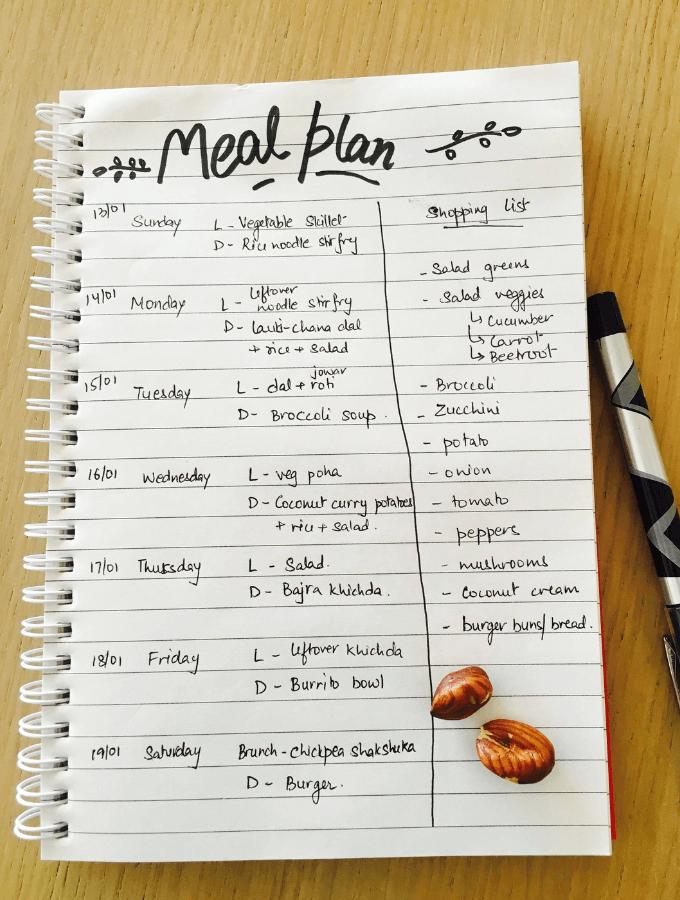 vegetarian meal plan sample