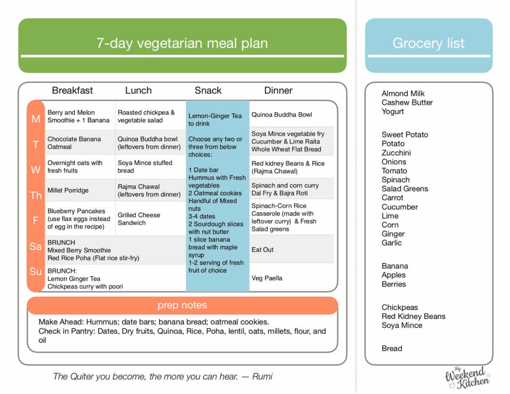 Free Download and Print weekly meal plan, vegetarian meal plan