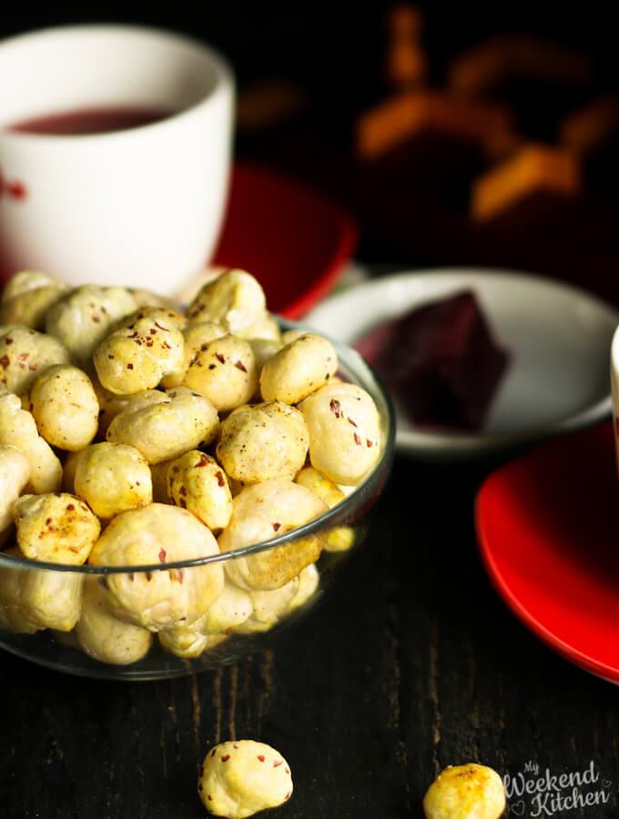 roasted makhana snack, phool makhana recipes, fox nuts
