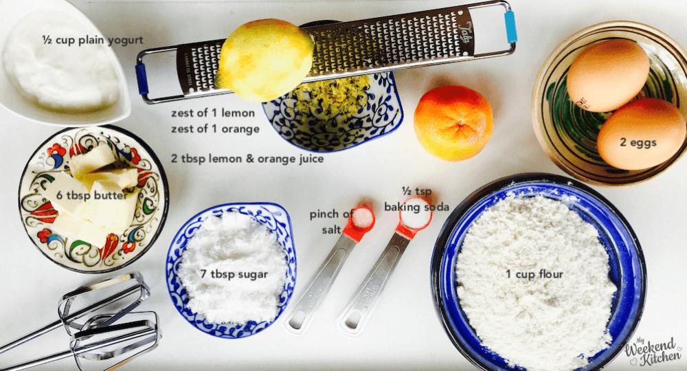 Ingredients for orange and lemon cupcake recipe