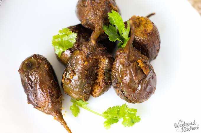 achari bharwan baingan, indian vegetarian stuffed eggplant