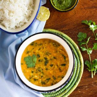 Methi-Dal tadka | Yellow lentil curry with fresh fenugreek
