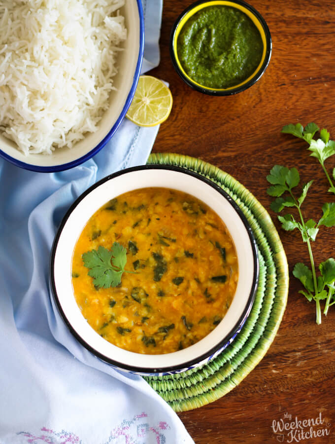 Methi dal tadka recipe, Indian lenti curry with fresh fenugreek leaves