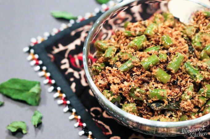 Green beans stir fry, beans thoran