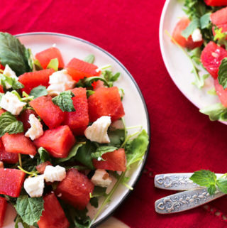 watermelon feta salad with arugula and mint