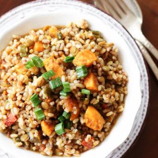 brown rice and lentil pilaf, rice and lentil casserole
