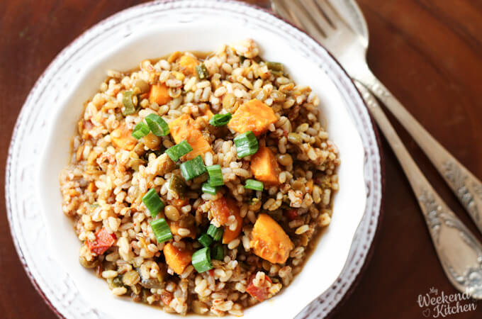 Brown rice and lentil pilaf, brown rice recipes, rice and lentil pulao