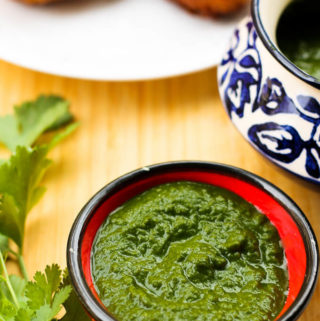 Indian green chutney with coriander and mint