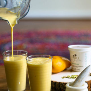 vegan mango lassi with coconut yogurt