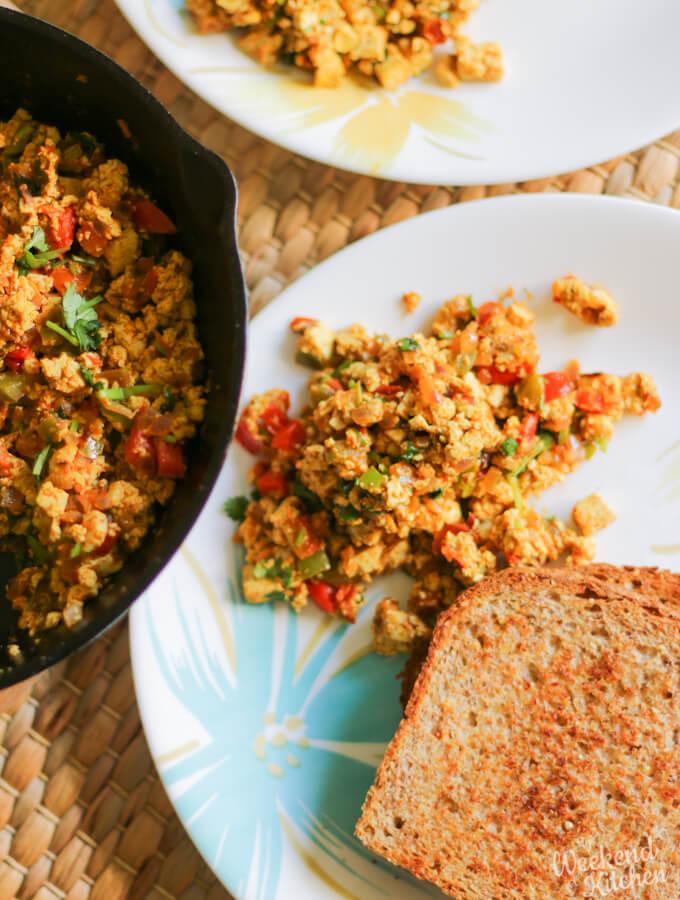 Vegan breakfast scramble with tofu, tofu bhurji recipe