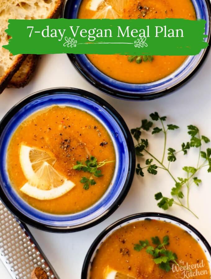 7-day vegan meal plan, weekly meal plan
