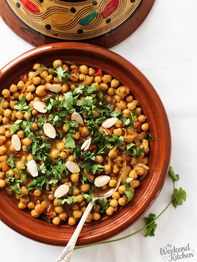 Moroccan chickpea tagine, vegetarian tagine,