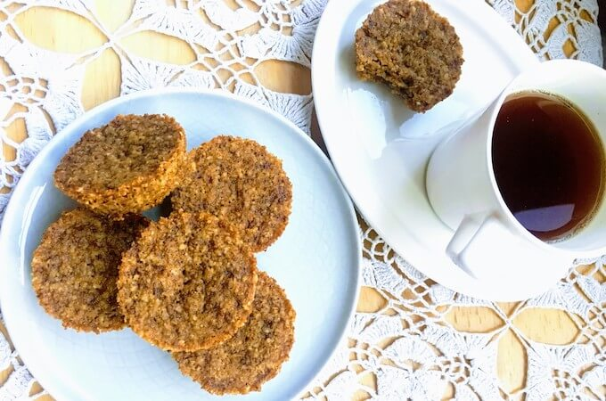 Almond and Oatmeal cookie bites made in a muffin cup