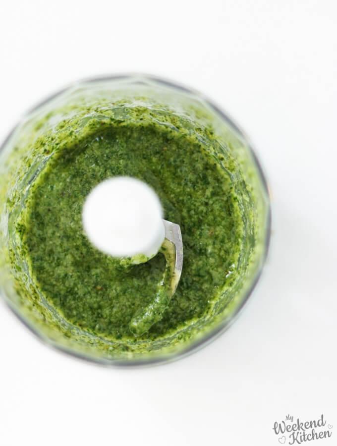 make fresh basil pesto in a chopper jar