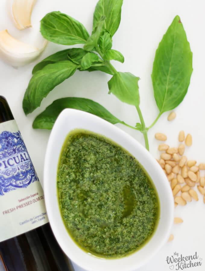 5-min fresh basil pesto recipe with 4 ingredients