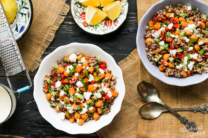 vegan roasted vegetable quinoa bowl, roasted chickpea quinoa bowl