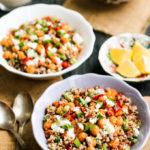 vegan quinoa salad bowl, roasted chickpea quinoa bowl recipe