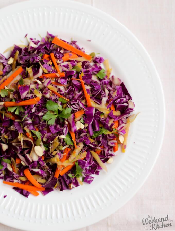 Red cabbage salad, purple cabbage recipe