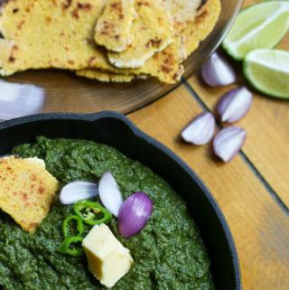 sarson ka saag, vegan indian mustard greens preparation