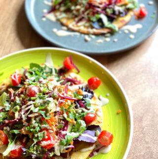gluten free and vegan socca bread with salad and tahini, socca recipe