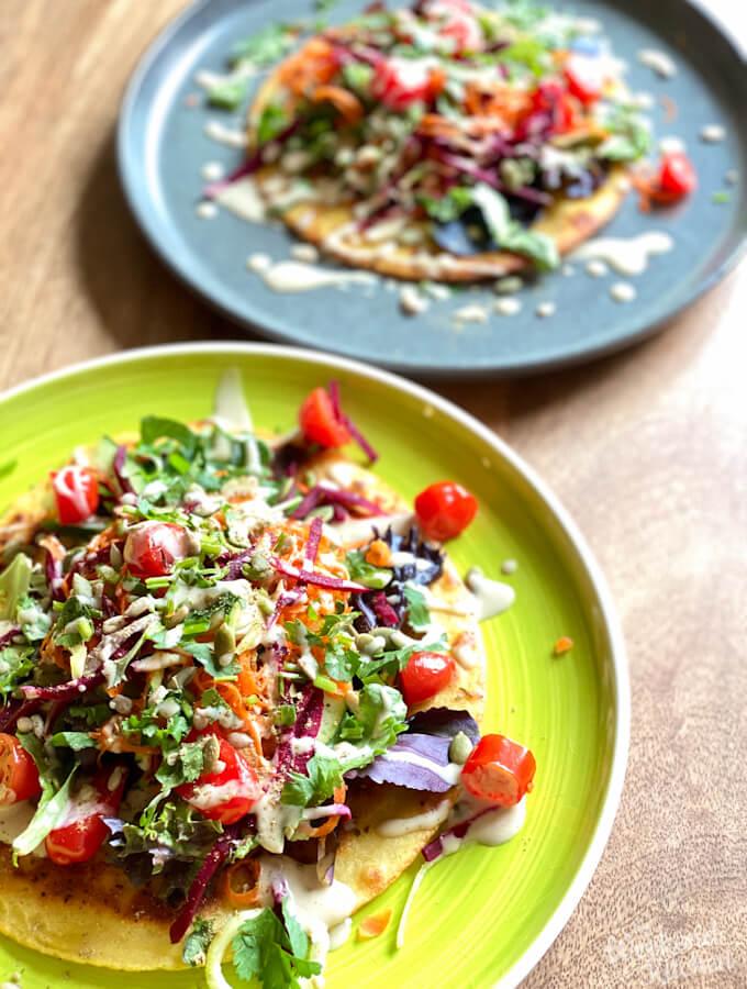 vegan and gf socca bread with summer salad and tahini dressing, Italian socca recipe
