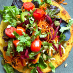 sunny socca recipe with vibrant vegetables