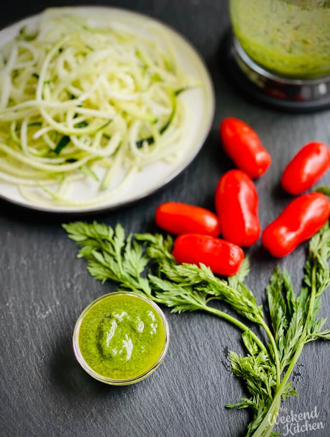 vegan carrot-top pesto recipe, carrot leaves recipe
