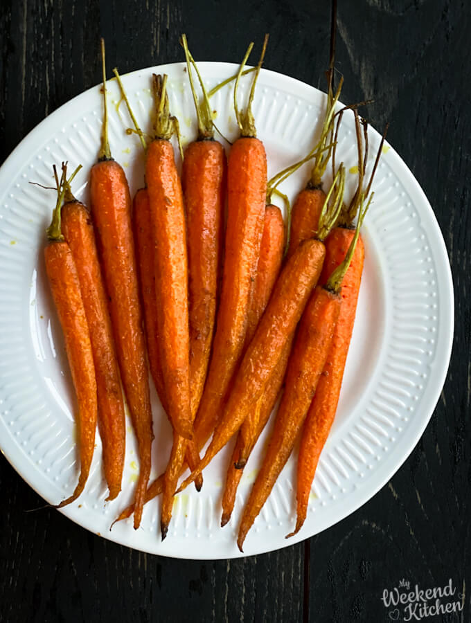 Oven roasted carrots, healthy roasted carrots