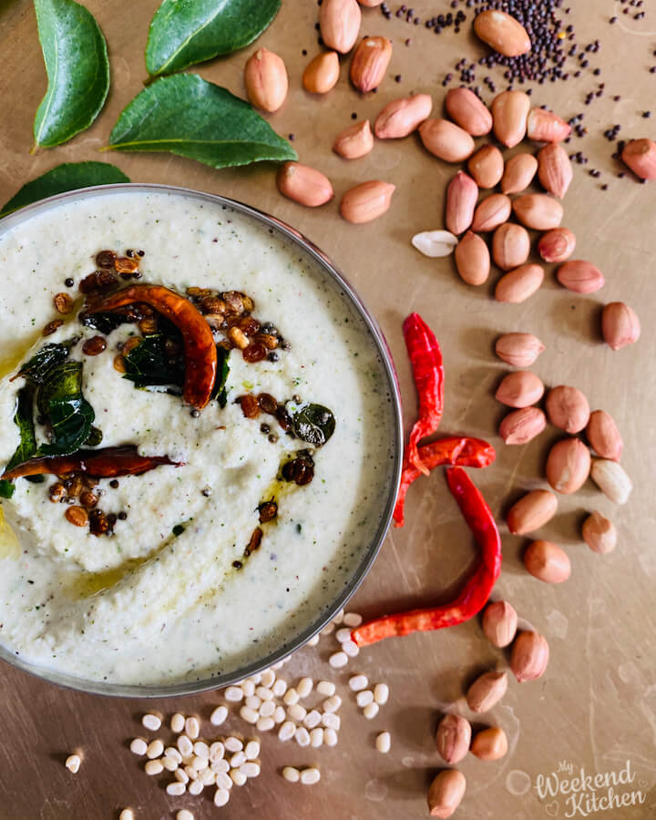 curry leaves peanut and coconut chutney, South Indian coconut chutney, peanut chutney