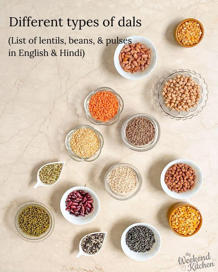 different types of dals, list of lentils, beans, and pulses in English and Hindi