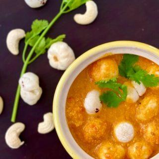 phool makhane ki sabzi, makhana sabji, vegan fox nuts curry