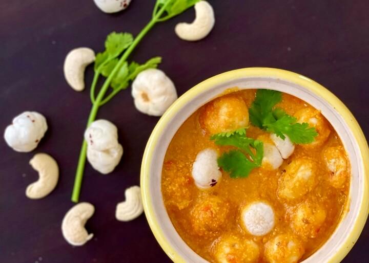 phool makhana sabji, makhane ki sabzi, vegan Indian fox nut curry