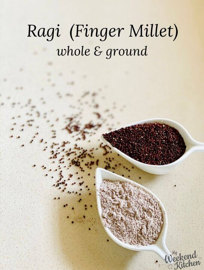 whole and ground ragi, finger millet, benefits of ragi
