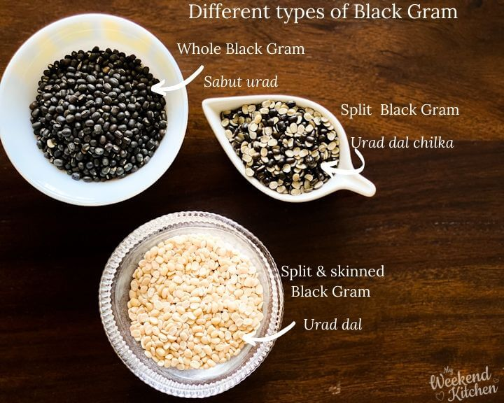 different types of lentils - whole, split, skinned