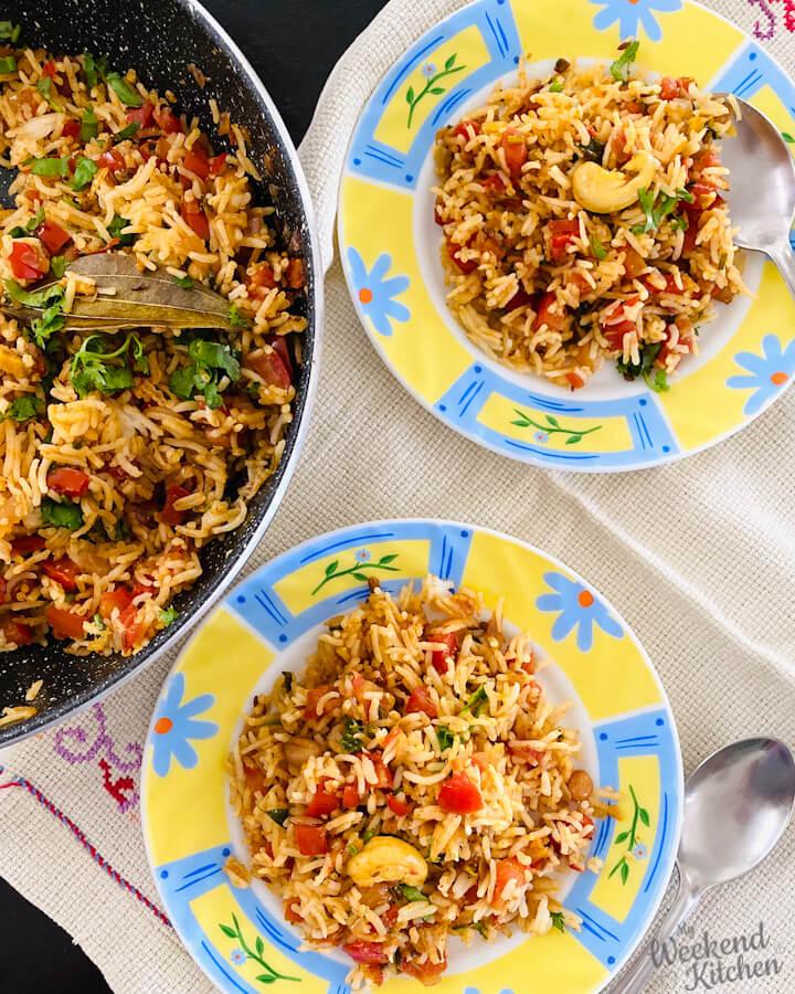 how to make tomato rice, south indian rice recipe, thakkali sadam in Tamil