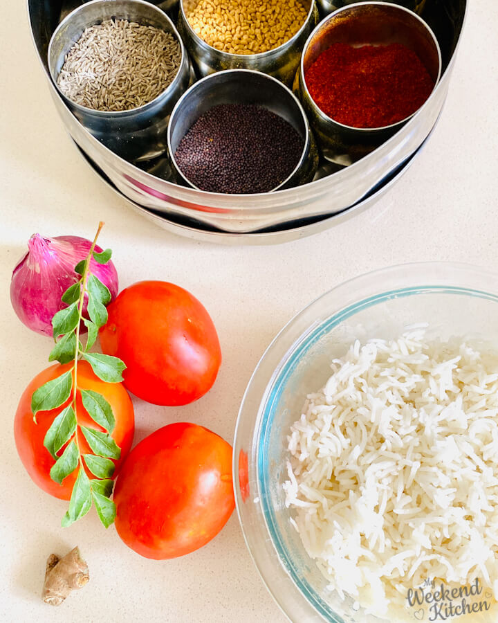 ingredients for making tomato rice, leftover rice recipes