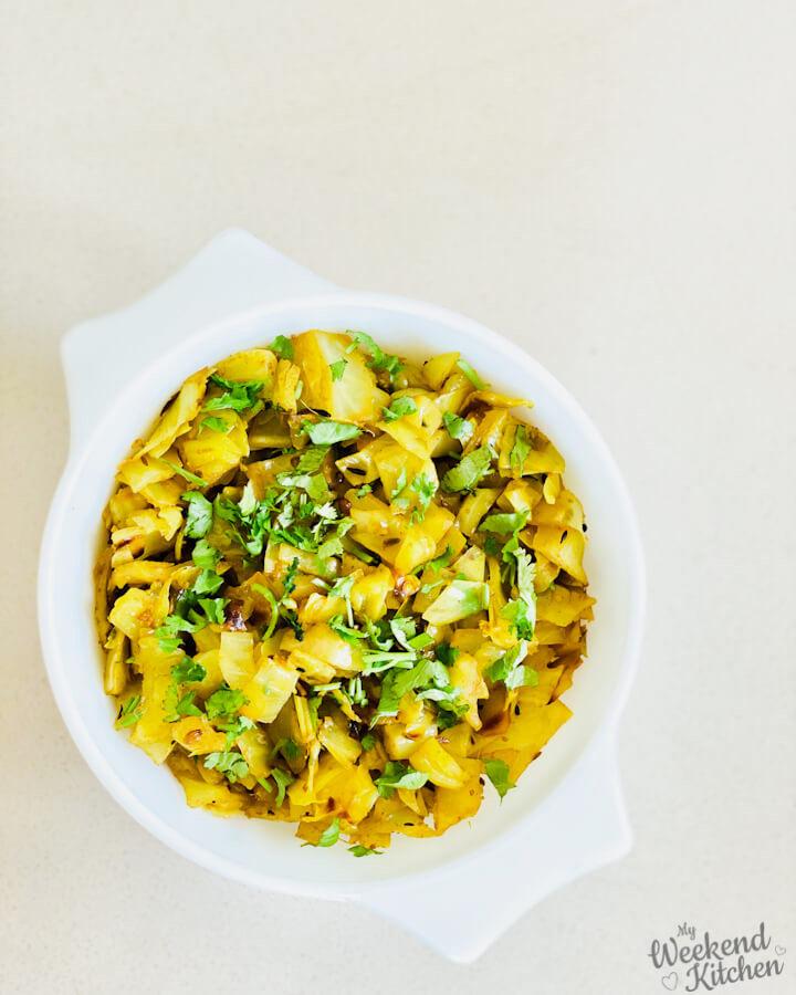 patta gobhi ki sabji, cabbage stir fry, Indian cabbage recipe