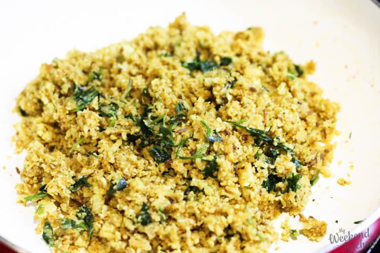 cauliflower scramble filling for gobi paratha
