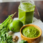 green chutney, coriander and mango chutney