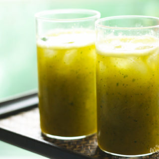 mango drink with lime and mint, mango and lime cooler