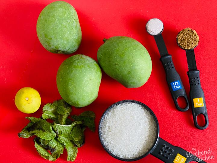 ingredients for mint and mango chuski, raw mango popsicle ingredients