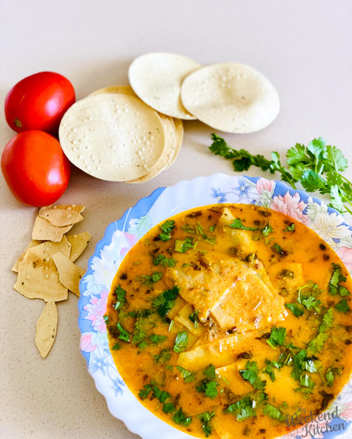 Rajasthani papad ki sabji, poppadum curry, Indian regional recipe