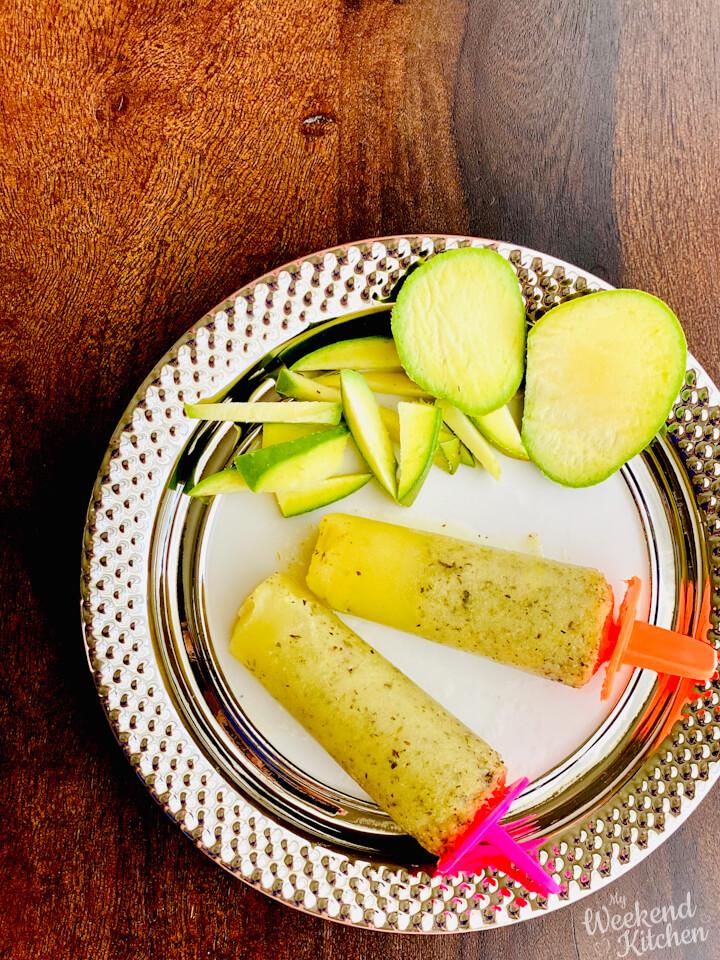 raw mango popsicle, mint and mango chuski, Indian ice-lollipop