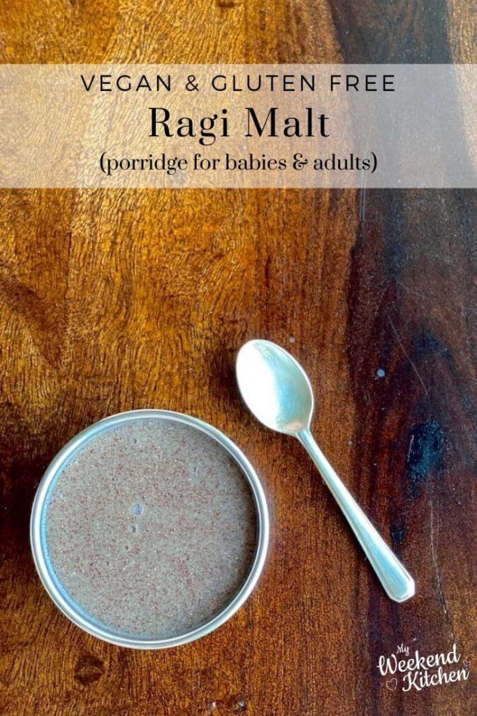 ragi malt for babies, vegan baby food, gluten free infant food, ragi porridge