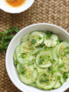 Asian Cucumber salad with a vinegar and sesame salad dressing