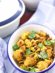 roasted cauliflower vegetable fry, turmeric spiced cauliflower